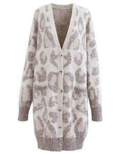 Ivory Leopard Spot Printed Buttoned Cardigan