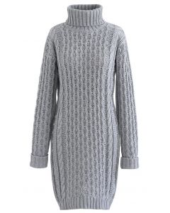 Turtleneck Cable Knit Sweater Dress in Grey