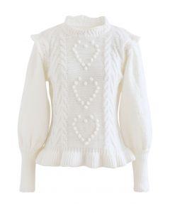 Still My Heart Bubble Sleeves Ruffle Hem Knit Sweater in White