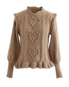Still My Heart Bubble Sleeves Ruffle Hem Knit Sweater in Tan
