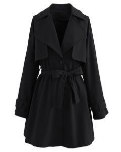 Storm – Schwarzes Mini-Mantelkleid mit geknöpften Knöpfen