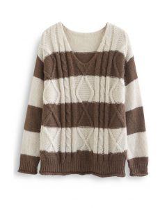 Farbblock-Pullover mit V-Ausschnitt und Zopfmuster in Elfenbein