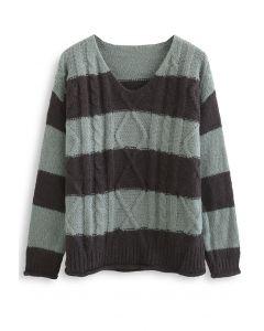 Farbblock-Pullover mit V-Ausschnitt und Zopfmuster in Salbei