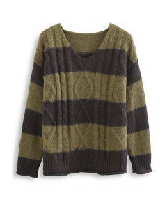 Farbblock-Pullover mit V-Ausschnitt und Zopfmuster in Oliv