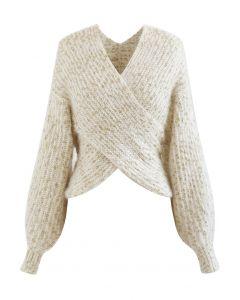 Kurzer Pullover aus geripptem Crisscross-Strick in schimmerndem Elfenbein
