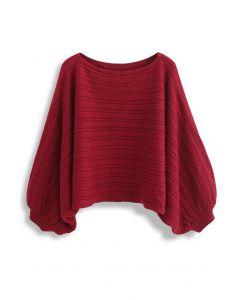 Kurzer Pullover mit U-Boot-Ausschnitt und Fledermausärmeln in Rot