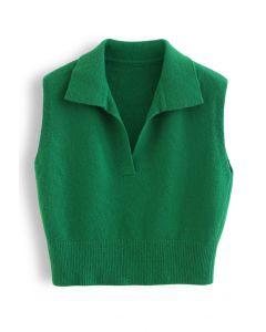 Strickweste mit V-Ausschnitt und Kragen in Grün