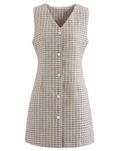 Ärmelloses, schimmerndes Tweed-Kleid mit Knöpfen aus Leinen