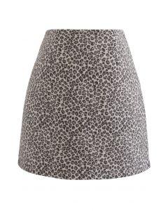 Minirock aus Wollmischung mit Leopardenmuster