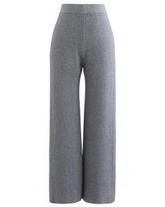 Doppelte Zöpfe – Gestrickte Hose mit geradem Bein in Grau