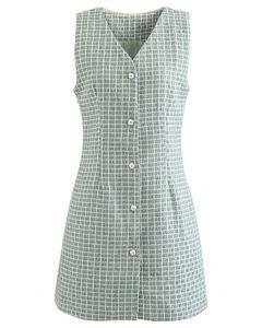 Ärmelloses, schimmerndes Tweedkleid mit Knöpfen in Mint