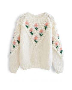 Handgestrickter Pullover mit Blumenstickerei und Bommel in Weiß