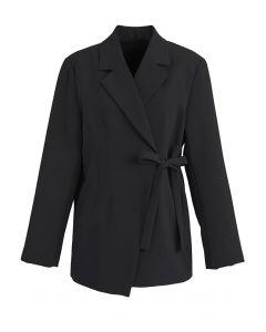 Schwarzer Blazer mit Schulterpolster und Schulterpolster zum Selbstbinden