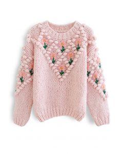 Handgestrickter Pullover mit Blumenstickerei und Bommel in Rosa