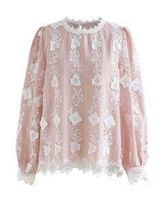 Besticktes Top mit floralen Ösen in Pink