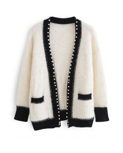 Schimmernder Fuzzy Knit Pearly Cardigan in Weiß