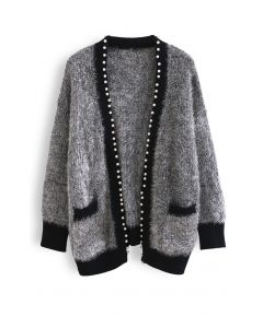 Shimmer Fuzzy Knit Pearly Cardigan in Grau