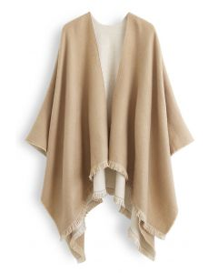Einfarbiger Wendeponcho in Camel