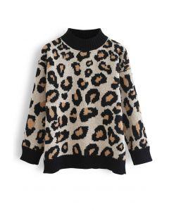 Pullover mit Stehkragen und Wildem Leoparden-Print