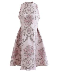 Splendid Peony – Barockes, ärmelloses Jacquard-Kleid in Rosa