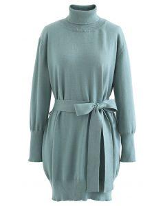 Rollkragenpullover mit selbstbindender Taillen-Pullover-Kleid in Blaugrün
