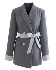 Zweireihiger Blazer mit Schleife und Schleife in Grau