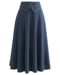 Crystal Flap Seam Detailing Midi Skirt in Dusty Blue