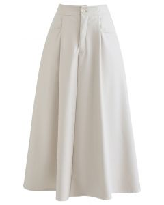Dual Patched Pockets A-Line Faux Leather Skirt in Ivory