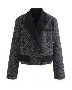 Kurz geschnittener Tweed-Blazer mit Pad-Schulter in Schwarz