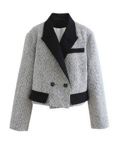 Kurzer Tweed-Blazer mit Pad-Schulter in Weiß