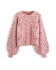 Fuzzy Pom-Pom Gerippter Mix-Strick-Pullover in Rosa