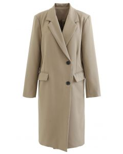 Einreihiger langer Mantel mit Taschen in Tan