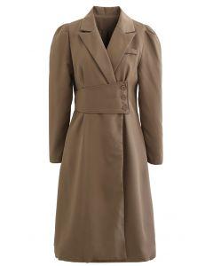Mantelkleid mit geknöpfter Taille und Puffschulter