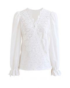 Wickeltop aus Baumwolle mit besticktem Rundhalsausschnitt in Weiß