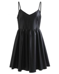 Soft Touch Faux Leather Cami Mini Dress in Black