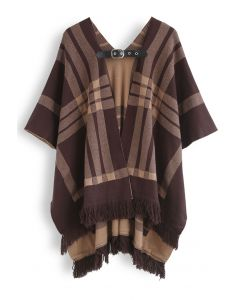Belted Check Printed Tassel Poncho in Brown