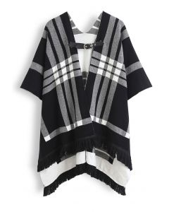 Belted Check Printed Tassel Poncho in Black