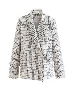 Tassel Edge Check Tweed Blazer in Ivory