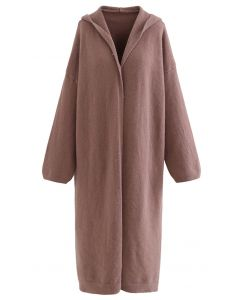 Open Front Longline Cardigan with Hood in Brown