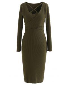 Crisscross Neck Wrap Rib Knit Bodycon Dress in Army Green