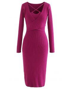 Crisscross Neck Wrap Rib Knit Bodycon Dress in Magenta