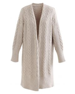 Cable Knit Open Front Longline Cardigan in Linen