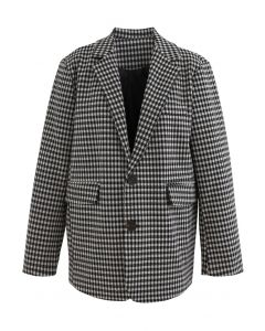 Houndstooth Side Flap Pockets Blazer