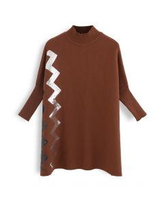 Zigzag Sequins Knit Cape Sweater in Caramel