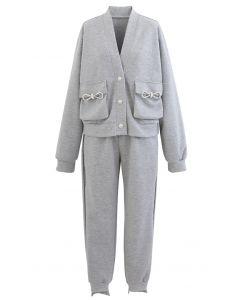 Pockets Button Up Cardigan und Crop Jogger Set in Grau