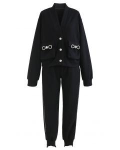 Pockets Button Up Cardigan und Crop Jogger Set in Schwarz