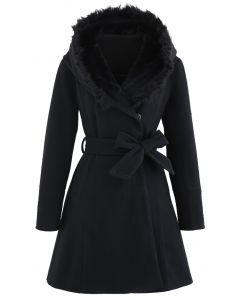 Faux Fur Hooded Wool-Blend Flare Coat in Schwarz