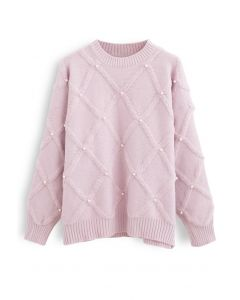 Diamond Pearls Trim Fuzzy Strickpullover in Pink