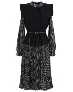 Strickweste mit Gürtel und plissiertes Chiffon-Twinset-Kleid