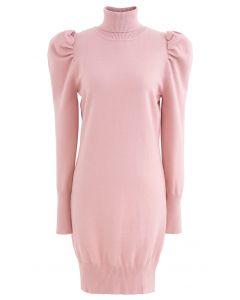 Bubble Shoulder Rollkragenpullover Kleid in Pink